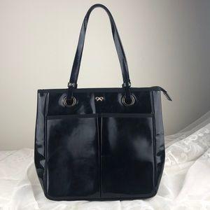 Anya Hindmarch Nevis Patent Shopper Tote Bag Black